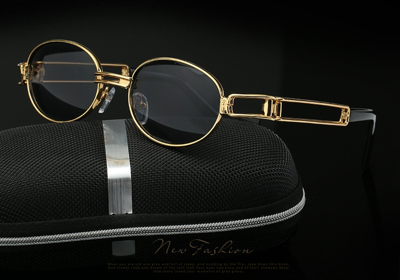 Round Sunglasses Gold-Frame Vintage Steampunk Retro Women Small UV400 Oculo Hip-Hop