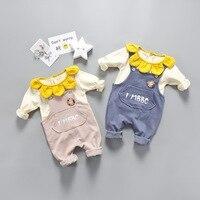 spring and autumn Baby 2Pcs Clothes Set Petal Collar T shirt +Sun Flower Overalls 2Pcs Sets Jumpsuits Girls Clothes Set
