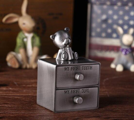 Детский Медведь Форма цинковый сплав молочные зубы пупочной коробка со шнуром шкатулка для зубов для детей ящик дизайн коллекция коробка на память Z752