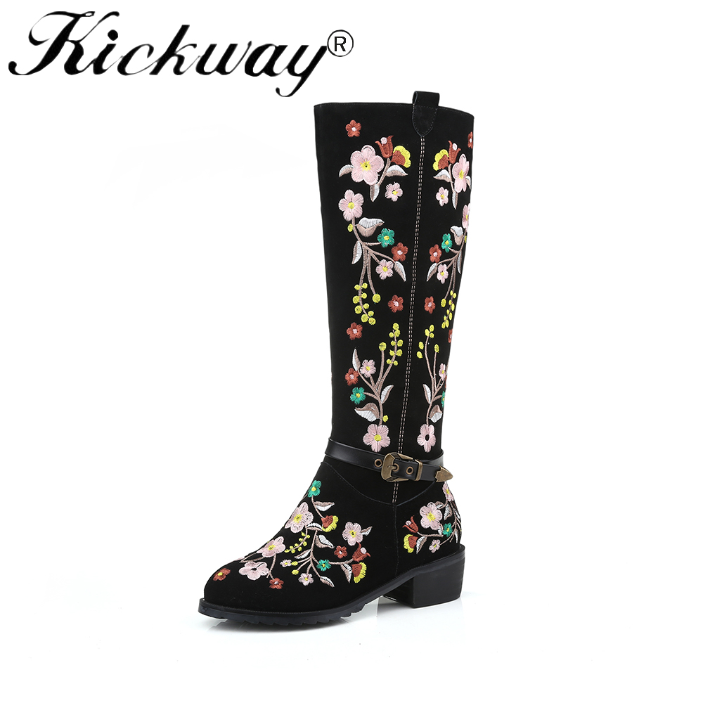 Kickway Plus Size 34-46 Ethnic Style Delicate Embroider Knee Boots Buckle Strap Women's Autumn Winter Boot Ethnic Boots Ladies цена 2017