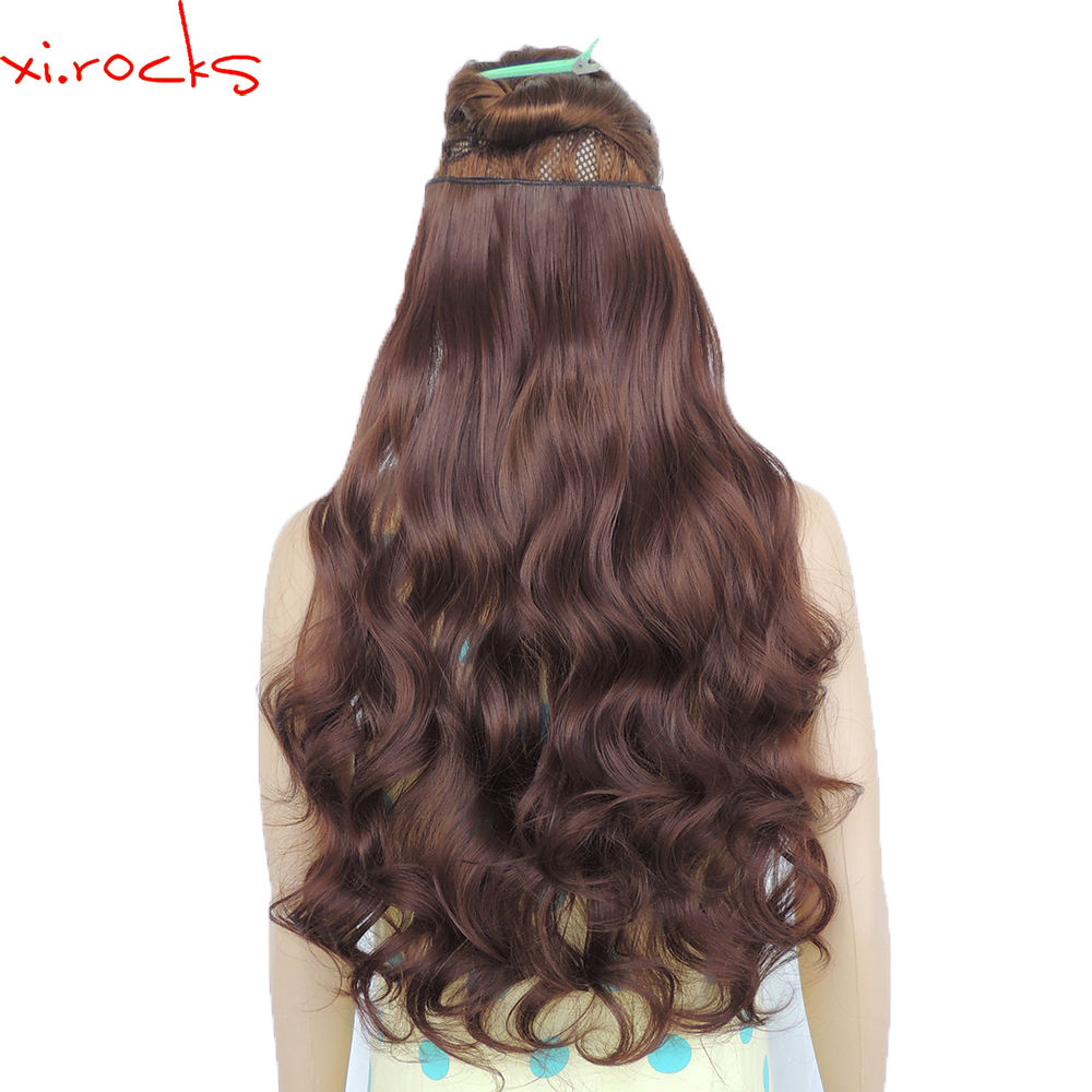 2 piece xi rocks 5 clip in hair extension 70cm synthetic hair clips extensions 120g curly. Black Bedroom Furniture Sets. Home Design Ideas