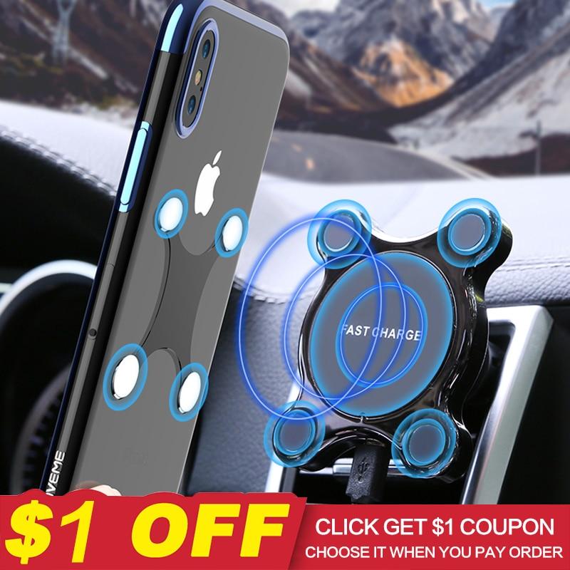 FLOVEME Caricabatteria Da Auto Senza Fili Magnete Supporto Del Telefono Per Auto Qi Wireless Car Charger Ricarica Veloce Per il iphone XR XS Samsung S9 s8 Nota 9