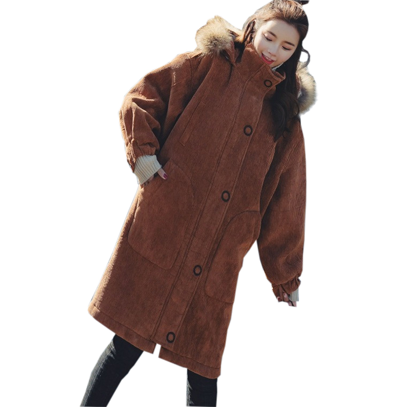 Winter Corduroy Cotton Coats Women Faux Fur Collar Hooded Long Thick Wadded Jacket Female Casual Lambswool Padded   Parkas   FP1474