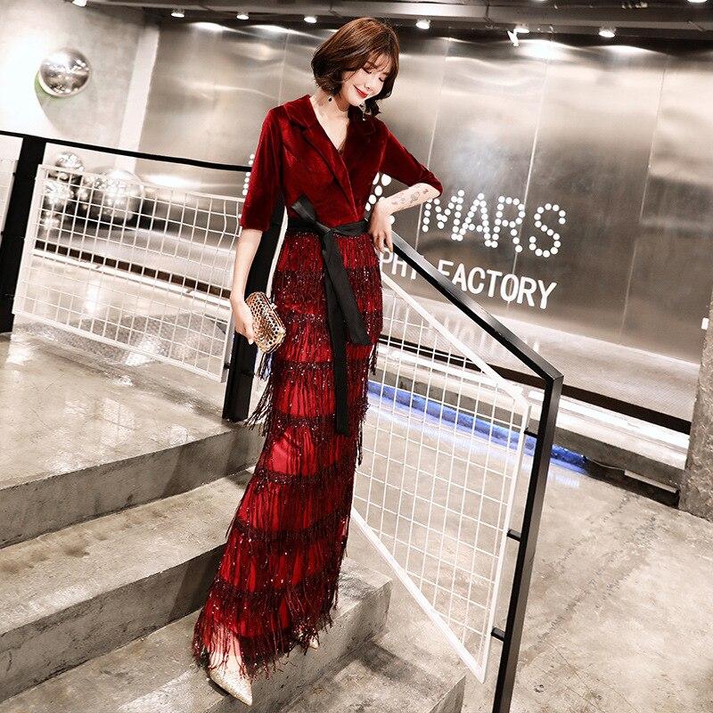 Brillant Patchwork Chic Femmes Longue Glands Tournent Rétro Robe Fête Les Robes xxxl De Vers Bas Soirée S Le Élégant Velours Pour D2IEH9W