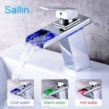 Bathroom LED Basin Faucet Waterfall Faucet Waterpower Control Discoloration Light Bathroom Sink Tap Brass Basin Mixer Crane стоимость