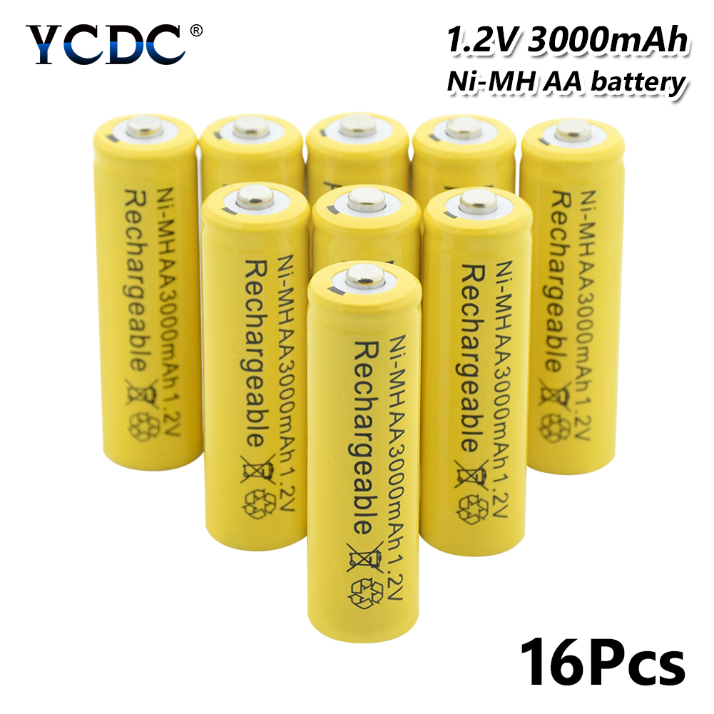 Power Source High Performance Ni-mh Aa Battery 1.2v 3000mah Rechargeable Li-ion Cell 20pcs For Laser Pen Led Flash Light Cell Battery Holder Batteries
