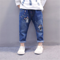 2018 New Year Kids Girls Jeans Trousers Cute Cartoon Cat Embroidery Denim Pants For Baby Girl