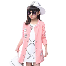 Spring Girls Sweater Coat Long Casaco With Cartoon Pattern Meninas Camisola Cardigan Sweaters For Girls Baseball Jacket