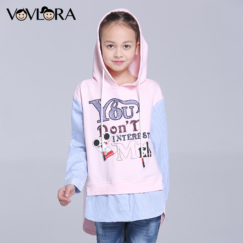 Girls T shirt New 2018 Kids Tshirts Long Sleeve Cotton Letter Hooded Spring Autumn Children Clothes Size 7 8 9 10 11 12 Years