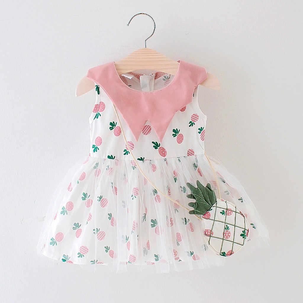 HOOLER/платье принцессы для маленьких девочек; вечерние платья в клетку с принтом фруктов и ананаса для малышей; летнее платье для малышей