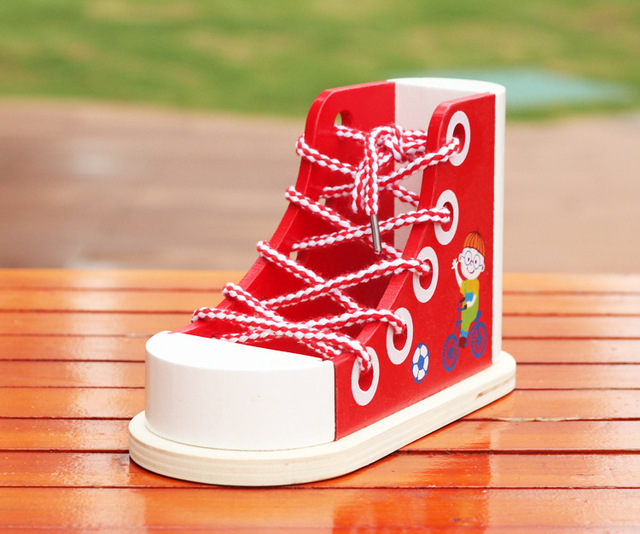 1Pcs Kids Montessori Educational Toys Children Wooden Toys Multifunction Toddler Lacing Shoes Early Education Teaching Aids
