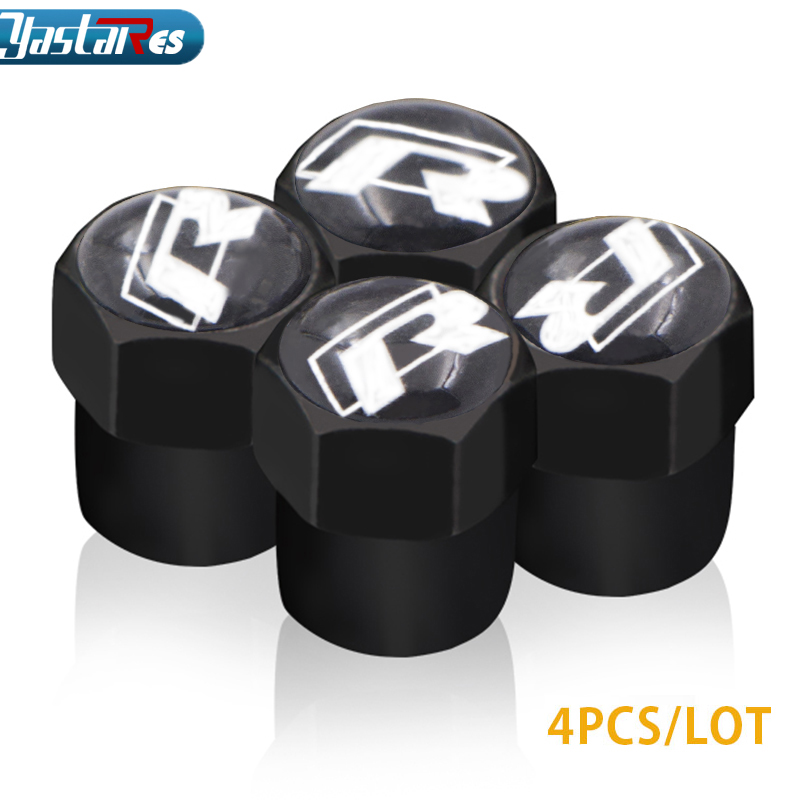 4pcs/lot Car Styling Auto Valves Caps Case For Volkswagen Polo Rline Passat B5 B6 B7 VW Golf 6 5 7 MK5 R Line Car Accessories car rear bumper protective decorative strips for vw polo tiguan golf 7 4 6 passat b6 b5 b7 touran t5 accessories car styling