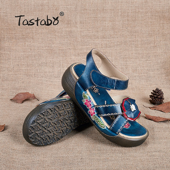 Tastabo Genuine Leather Gladiator Sandals Fashion Low Wedges Flower Summer Shoe Ladies Platform Sandals Shoes Women Flat Shoes 8