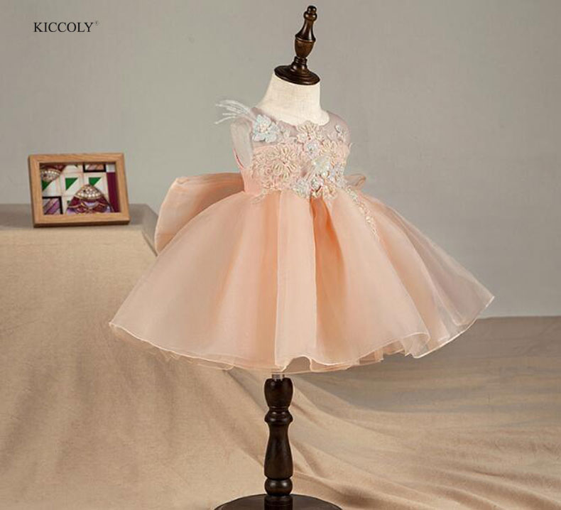 KICCOLY Flower Girl Dress Summer Pink Tutu Wedding Princess Birthday Party Dresses For Girls Children's Costume Teenager Prom aile rabbit princess flower girl dress summer 2017 tutu wedding birthday party dresses for girls children s costume teenager