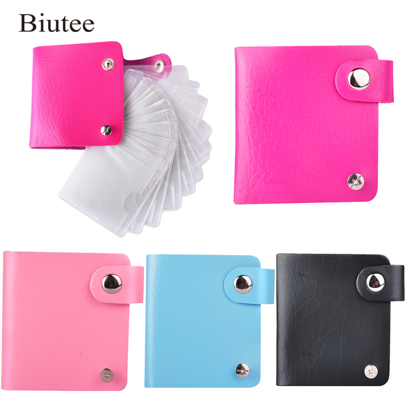Biutee New Random Color Nail Stamping Plates Storage Bag Nail Tools Stamp Manicure Durable PU Leather With Holder Album Storage
