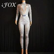 Gray Silver Rhinestones Jumpsuit Women long Sleeves Stretch Sexy Bodysuit Stage Performance Party Celebrate Nightlcub outfit