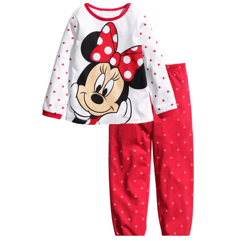 2017 Minnie Cartoon Mouse Baby Toddlers Kids Girls Polka Dots Stripe Nightwear Pajamas Set Sleepwear Homewear