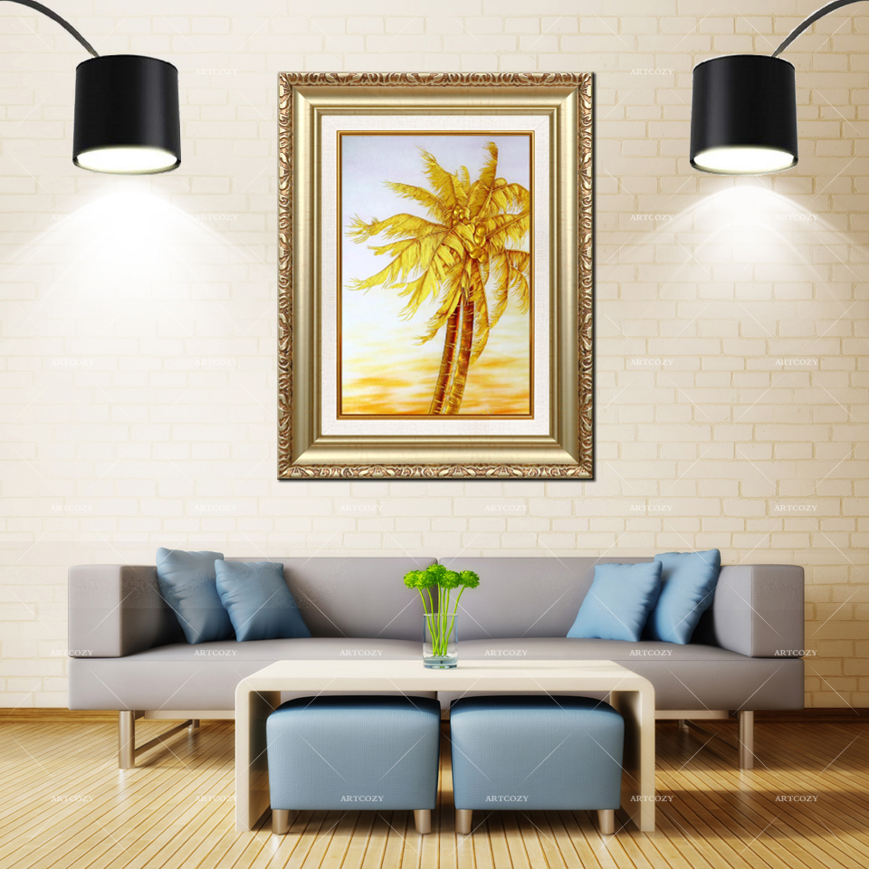 Artcozy Golden Frame Abstract Gold Coconut Tree Waterproof Canvas Painting