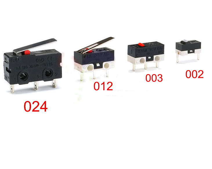 Free shipping 20pc Micro Switch 002 003-3.5 012-13.5-2 024-A touch switch button for mouse  3PIN 2PIN