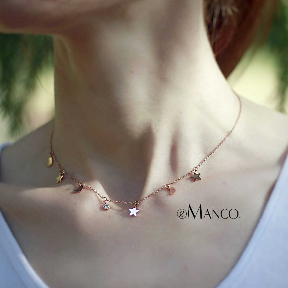 eManco Rose Gold Color Necklaces for Women Jewelry Stainless Steel Statement Necklace Trendy Fashion Jewelry Moon Star Pendants