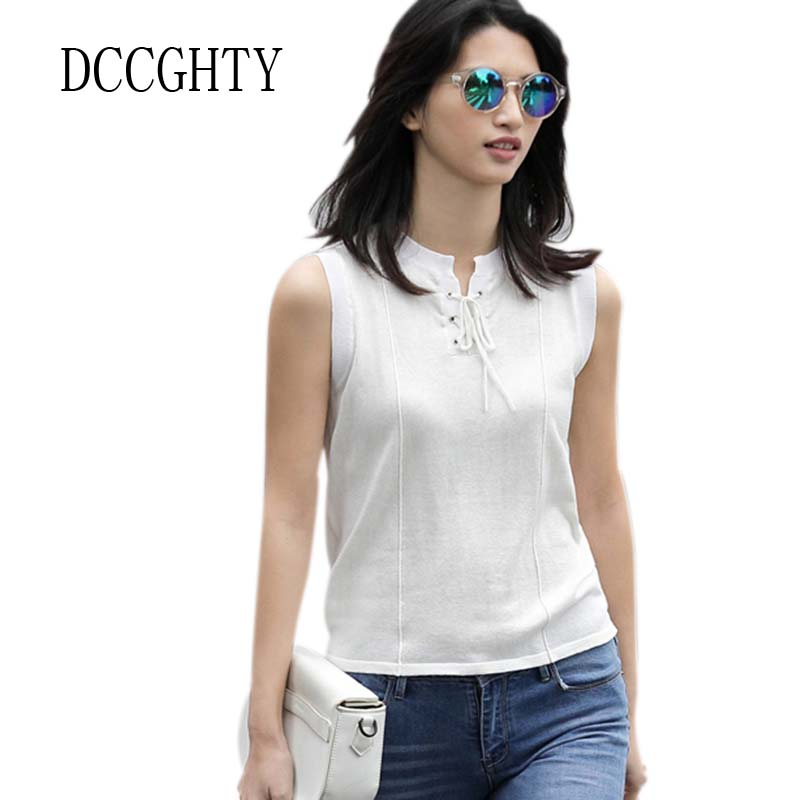 Women Fashion Sexy T-Shirt Crew Neck Sleeveless Knit Tee Shirt 2018 Summer New Style Thin Breathable Tops Solid Color T Shirt