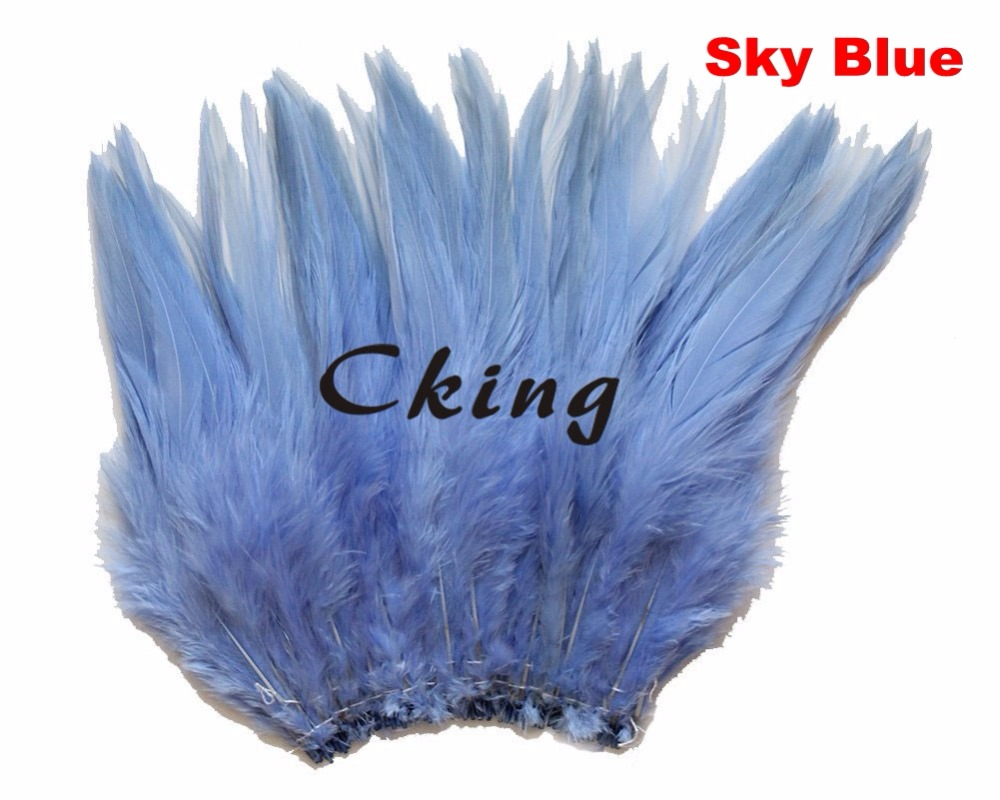 23 colors can be choosed sky blue rooster saddle feather strungs in 5 6inch/12 15cm width 1kgs/lot chicken plumes for earrings