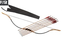 PG1ARCHERY HandMade Black Longbow Archery Set 6 Bamboo Hunting Arrows Recurve Bow 20 110lbs