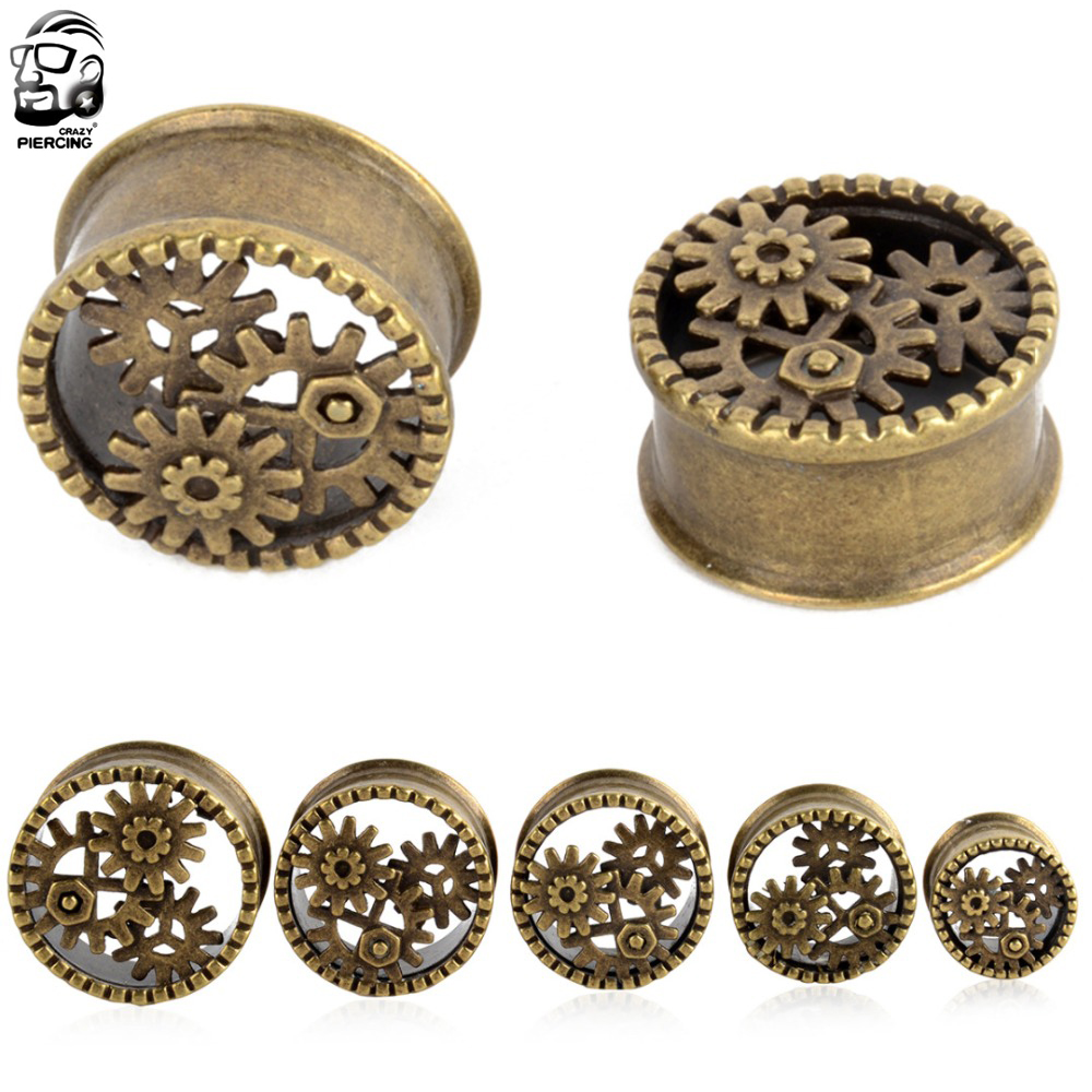 1Pair New Hot Antique Brass Gear Ear Plugs Double Flares Ear Flesh Tunnel Plugs Piercing Gauges 8mm-22mm Fashion Body Jewelry image