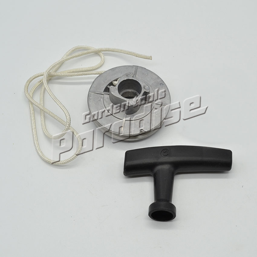 4500 5200 5800 Chainsaw Single Starter Aluminum Single Starter Pulley With Starter Rope Handle recoil starter handle grip for all chainsaw brush cutter and spare parts 2500 3800 4500 5200 5800 6200