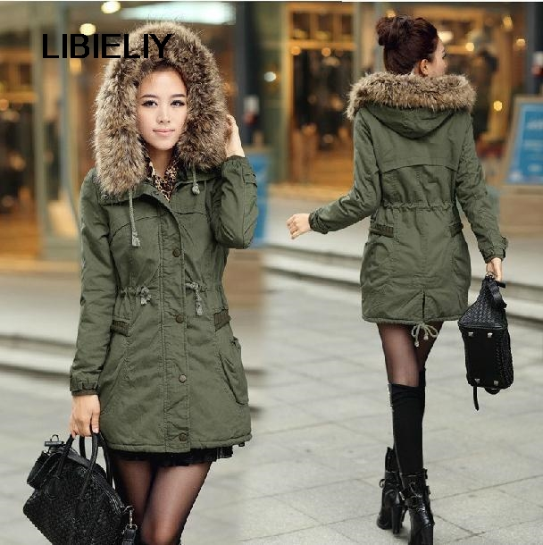 Nice Winter Outerwear New Down & Parkas Thick Army Green Winter Coat Women Cotton Fur Collar Coat Plus Size Padded Jacket H52411 2017 new army green winter women s jacket coat black thick warm women parkas coat high quality parkas cotton hooded outerwear