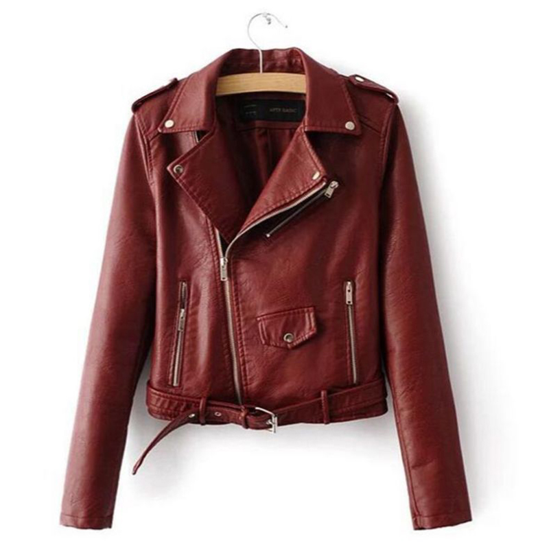 Women Short Motorcycle Jacket Faux PU Leather Solid Color Zipper Pockets Fashion Punk Coat Ladies Casual Outwear Tops Casaco in Jackets from Women 39 s Clothing