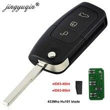 Jingyuqin chave de controle remoto 433mhz 4d63 4d60, com 3 botões, para ford fusion focus, mondeo fiesta, galaxy, fob lâmina hu101,