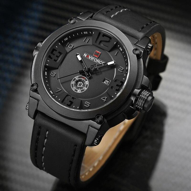 Image 4 - NAVIFORCE 9099 Mens Watches Top Brand Luxury Sport Quartz Watch Leather Strap Clock Men Waterproof Wristwatch Relogio Masculino-in Quartz Watches from Watches
