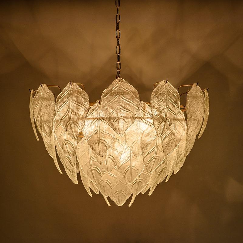 Modern glass leaves LED Pendant Lights gold circle post modern Bedroom lamparas Home Decoration E14 3W Lamp hanglamp luminaire