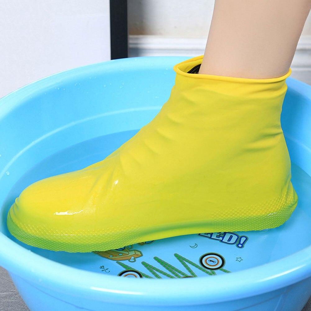 Anti Slip Reusable Latex Waterproof Rain Shoes Covers  Rubber Rain Boot Overshoes S/M/L Shoes Accessories #2