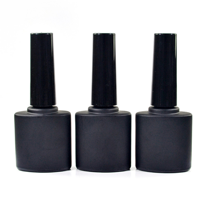 100pcs * 9ml Empty Glass Nail Polish Clear Matt Black Bottles With Cap And Soft Brush Mini Glass UV Gel Nail Polish Bottle