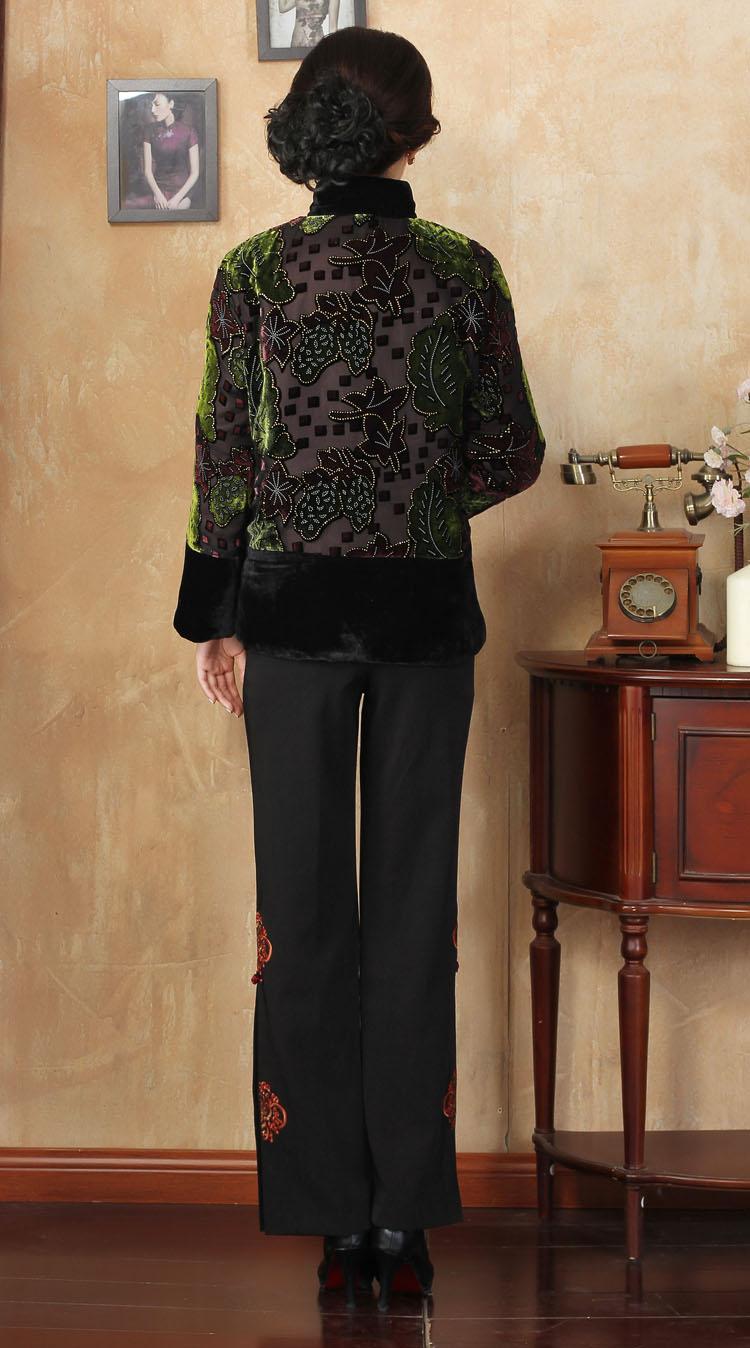 Cristal 4xl Hiver Faux Pardessus Femmes Taille Manteau 3xl Col Mère Bling Chinois Chaud rouge Plus Rembourré Vert Veste Outwear Coton Mandarin qpAEf