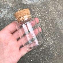 25 pcs 47x70x33mm 80ml vazio boca larga garrafas de vidro com cortiça diy frascos decorativos presentes desejando garrafas de estrela