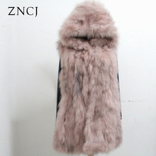 ZNCJ Womens Sleeveless Long Coat Winter Vest Outwear Real Fox Fur Loose Hooded Coats Waistcoat Sashes Wide Waisted
