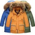 2016 Niños del invierno pato Abajo Chaquetas/abrigos Parkas de piel de Los Niños del muchacho caliente del invierno Outerwears Abrigo gruesa Abajo chaqueta de plumas-30 grados