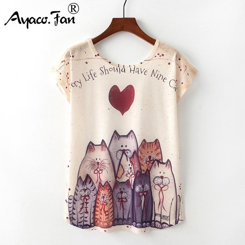 Letnie nowe damskie t-shirty 2019 Harajuku Kawaii śliczne zwierzę ładny kot nadruk z jednorożcem T-shirt przyczynowy O-Neck krótki rękaw luźne góra 1