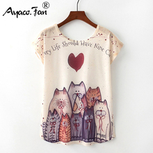 Летние новые женские футболки Harajuku милый чехол с животным узором Милая футболка с принтом кота единорога повседневные свободные топы с круглым вырезом и коротким рукавом