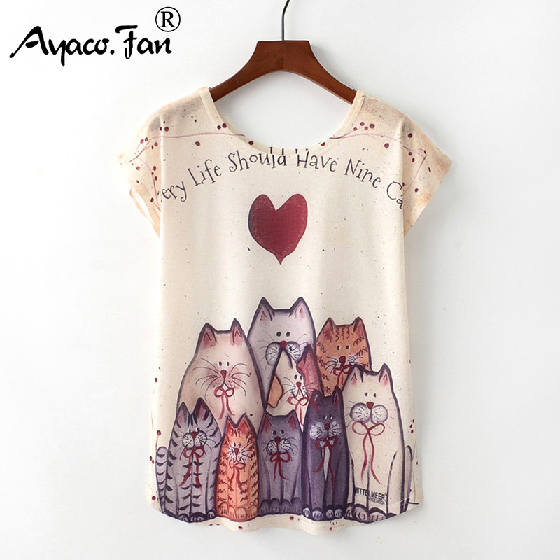 Summer New Women T-Shirts 2019 Harajuku Kawaii Cute Animal Nice Cat Unicorn Print T-shirt Causal O-Neck Short Sleeve Loose Tops