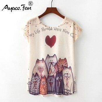 Summer New Women T-Shirts 2019 Harajuku Kawaii Cute Animal Nice Cat Unicorn Print T-shirt Causal O-Neck Short Sleeve Loose Tops