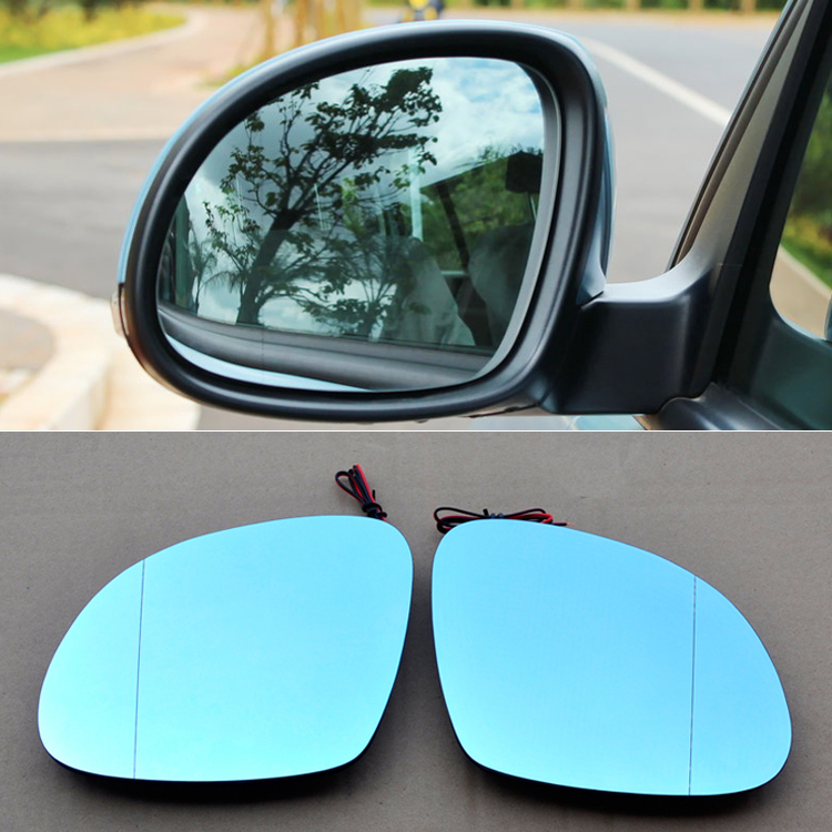 Ipoboo 2pcs New Power Heated w/Turn Signal Side View Mirror Blue Glasses For Volkswagen Tiguan
