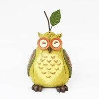 Owl Figurines with Light Green Pear Shape Owls Miniature Resin Bonsai Home Garden Landscape Succulent Plant Pots Craft Fairy