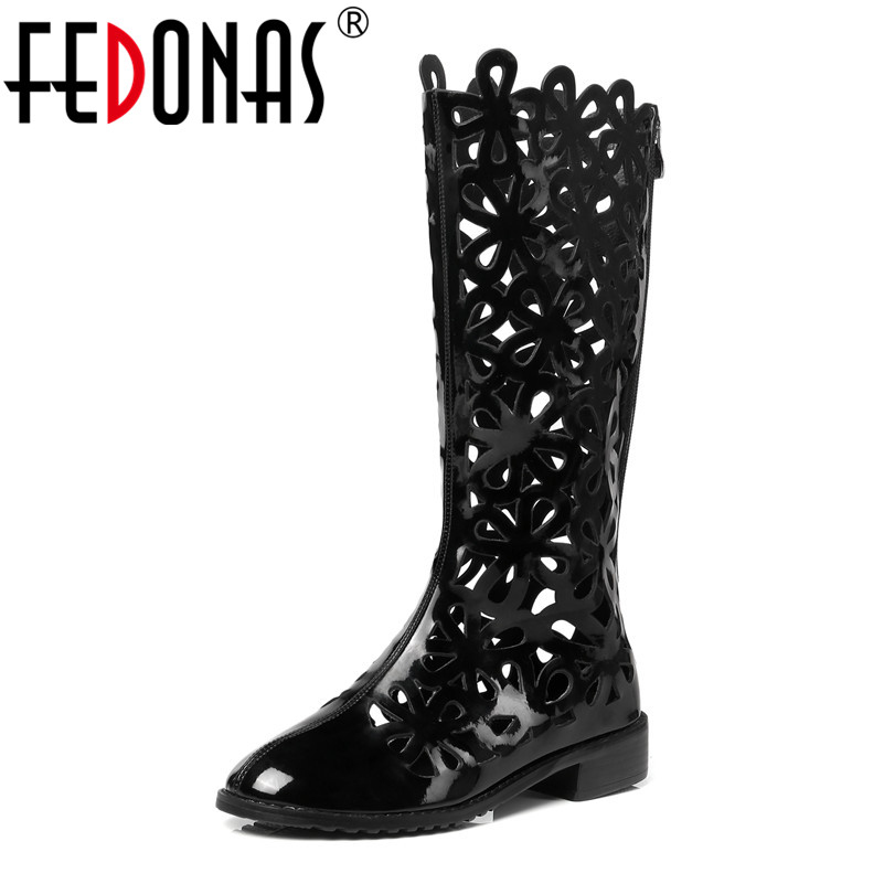 FEDONAS Brand Women Black Low Heels Summer Boots Fashion Cut-outs Patent Leather Long Sandals Female Knee High Shoes Woman patent leather knee high fashion women boots buckle strap cool motorcycle boots thin high heels cut outs sandals boots shoes