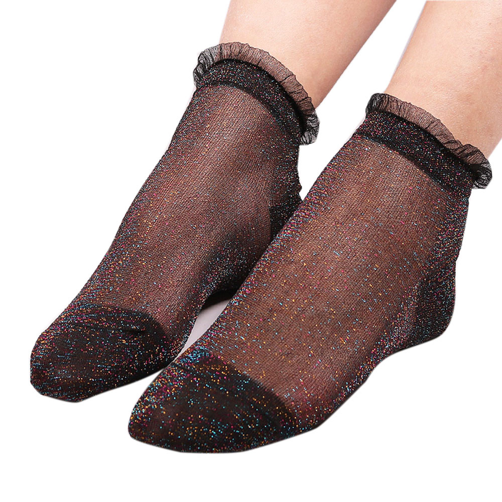 Women Fashion Shiny Socks Thin Gauze Ankles Sox Soft Glitter Ankles Socks