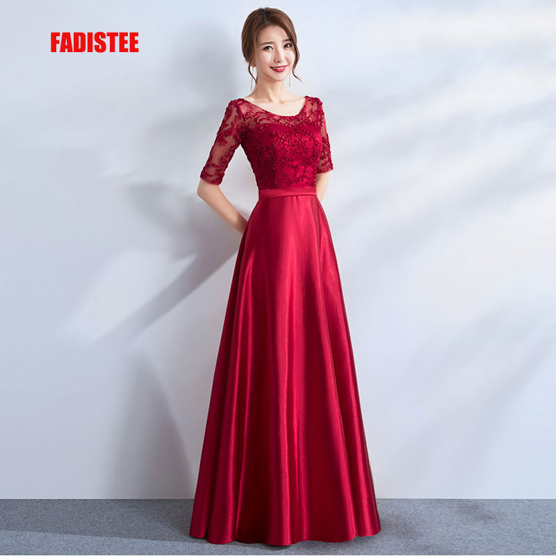 FADISTEE New arrival party legant evening   dresses   Vestido de Festa A-line   prom     dress   Robe De Soiree half sleeves lace satin