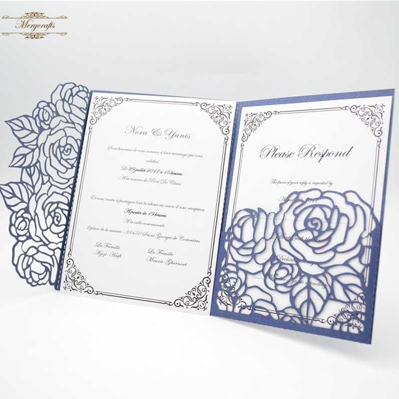 50 pcs/lot Tri fold pink gold navy pocket rose laser cut invitation